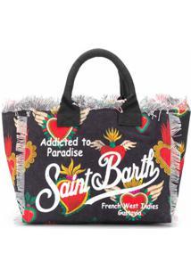 Mc2 Saint Barth Bolsa De Praia Com Estampa De Logo De Coração - Preto