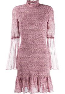Stella Mccartney Vestido Floral Com Franzido - Roxo