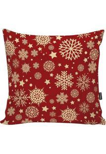 Capa De Almofada Floco De Neve - Vermelha & Dourada Stm Home