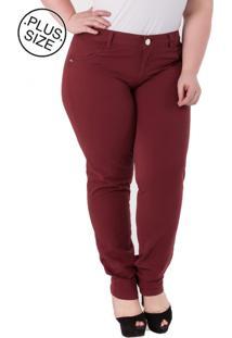 Calça Plus Size - Confidencial Extra Jeans Cigarrete Vinho - Tricae
