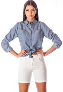 Bermuda Sisal Jeans Meia Coxa Sarja Canelada Branca
