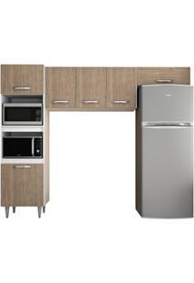 Cozinha Modulada 3 Módulos Composição 7 Branco/Castanho - Lumil