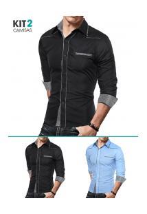 Kit 2 Camisas Masculinas Slim Com Detalhes Xadrez Manga Longa - Azul Claro E Preto