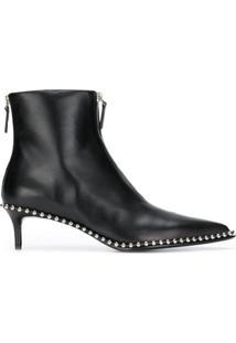 Alexander Wang Ankle Boot De Couro Com Tachas - Preto