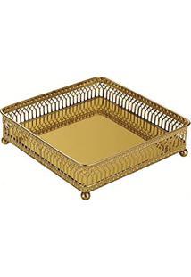 Bandeja Em Metal Com Espelho, Moas, Dourada, 4.5 X 15.5 X 15.5 Cm