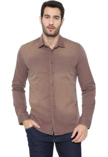 Camisa Sarja Colcci Reta Básica Marrom