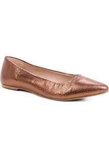 Sapatilha Couro Shoestock Python Metalizada Feminina - Feminino-Bronze