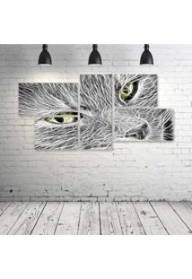 Quadro Decorativo - Cat-Neon-Face-(2) - Composto De 5 Quadros