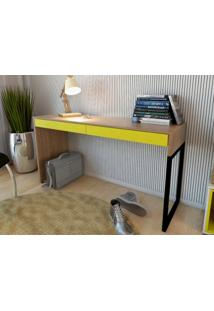 Mesa Para Escritorio Desk Amendoa/Amarelo - Fitmobel