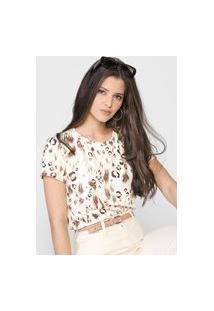 Camiseta Dimy Onça Off-White/Marrom