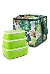 Conjunto Bolsa Térmica Quadrada E Kit De 3 Pçs Potes P/ Alimentos Verde