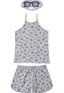 Pijama Feminino Curto Malwee 1000073428 B585B-Cinz