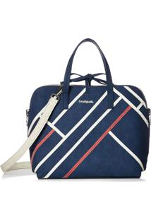 Bolsa Tiracolo Desigual Color Block Azul-Marinho/Off-White
