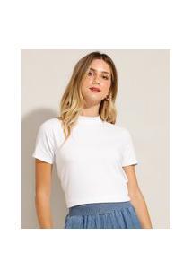 Camiseta Básica Gola Alta Manga Curta Branca