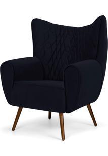 Poltrona Decorativa Para Sala De Estar Kora Pã©S Palito Tress㪠Veludo Liso B-287 - Lyam Decor - Azul - Dafiti