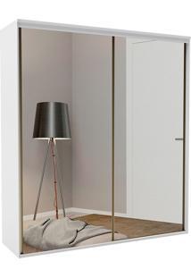 Guarda-Roupa Solteiro 2,07Cm 2 Portas C/Espelho Liminum Light Semi Brilho-Belmax - Branco