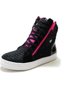 28887dd98e2 ... Tênis Cano Alto Fitness Cheia De Marra Zíper Preto Pink