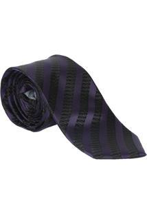 Gravata Tradicional Maquinetada- Roxo & Preto- 6X74Cogochi