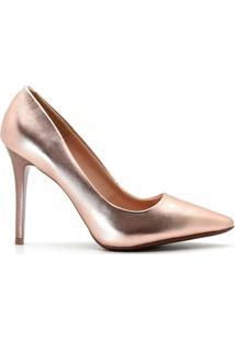 Scarpin Royalz Metalizado Feminino - Feminino-Rose Gold