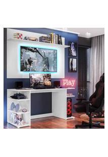"Mesa Gamer Com Painel Tv 55"" E Prateleira Guilda Plus Multimóveis Branca"