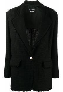 Boutique Moschino Blazer De Tweed Com Abotoamento Simples - Preto