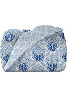 Edredom Diamante King Size- Branco & Azul- 240X280Cmteka