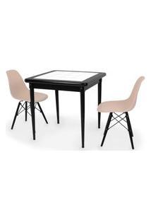 Conjunto Mesa De Jantar Em Madeira Preto Prime Com Azulejo + 2 Cadeiras Eames Eiffel - Nude