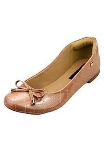 Sapatilha Love Shoes Bico Redondo Conforto Matelasse Verniz Laçinho Nude