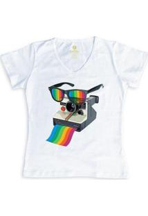Camiseta Gola V Cool Tees Camera Pride Vision Feminina - Feminino-Branco