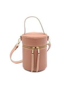 Bolsa Feminina Mini Bag Cilindrica Transversal Croco Casual - Feminino-Nude