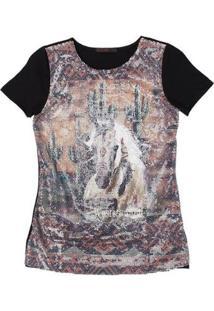 Camiseta De Paetê Tassa Gold 21403 Feminina - Feminino-Preto