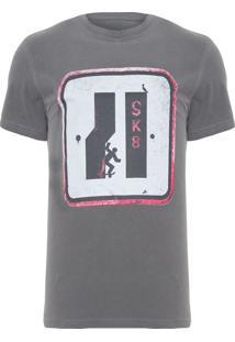 Camiseta Masculina Estampada Placa Sk8 - Cinza