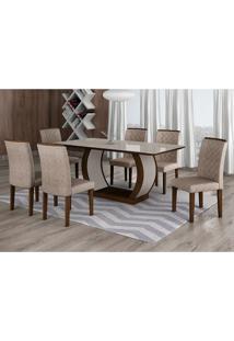 Conjunto De Mesa De Jantar Com Vidro E 6 Cadeiras Maia Iii Suede Amassado Castor E Chocolate