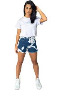 Shorts Jeans Equivoco Marrie Feminino - Feminino-Azul
