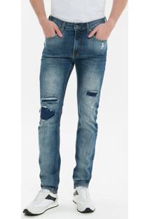 Calça Jeans Five Pockets Slim - Azul Médio - 36