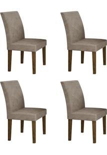 Conjunto Com 4 Cadeiras Olímpia Ipê E Cinza