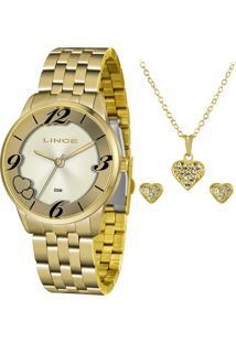 Kit De Relógio Analógico Lince Feminino + Brinco + Colar - Lrg4604L Kw05C2Kx Dourado