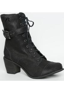 Ankle Boot Em Couro Texturizado- Preta- Salto: 7Cmcarmen Steffens