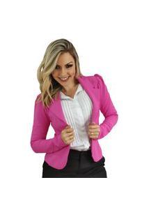 Blazer Feminino Em Poliamida Pink
