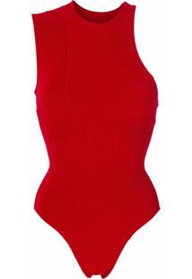 Haight Body Assimétrico De Tricô - Vermelho