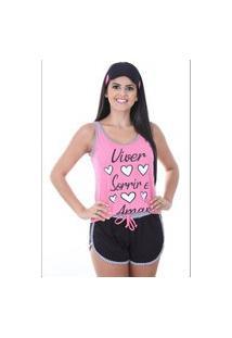 Baby Doll 4 Estações Pijama Com Tapa Olho Feminino Viver Amor Poa Regata