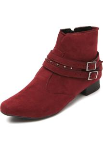 Bota Dafiti Shoes Tiras Vinho