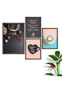 Kit Conjunto 4 Quadro Oppen House S Frases Comece Com Café Lojas Cafeteria Xícaras Gráos Moldura Preta Decorativo Interiores Sem Vidro