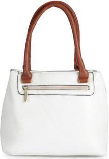 Bolsa Básica Feminina Textura Branco Branco
