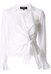 Paule Ka Long-Sleeve Wrap Blouse - Branco