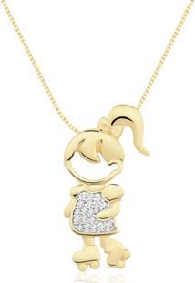 Pingente Menina De Patins Ouro Amarelo E Diamantes 22 Mm