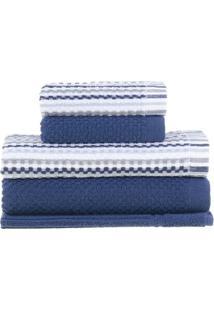 Jogo De Toalhas Yumi- Azul Marinho & Branco- 5Pçs