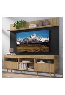 """Rack Com Painel Tv 65"""" Madri Multimóveis Rustic/Preto Com Prateleira E Pés Retrô Natural"""