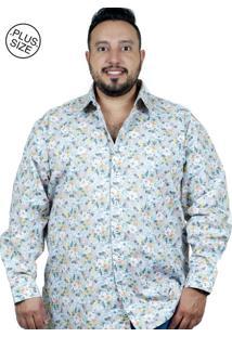 Camisa Plus Size Bigshirts Manga Longa Estampa - Flor Branca