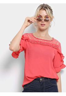 Blusa Lily Fashion 3/4 Renda Babados Feminina - Feminino-Rosa